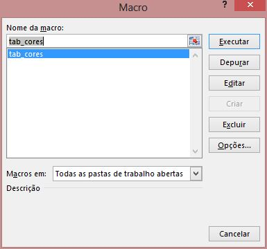 Janela macro - Excel