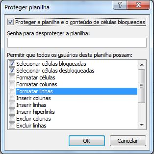 Janela Proteger Planilha - Bloquear Células no Excel