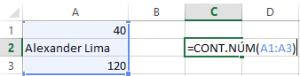 """A1=40, A2= """"Alexander Lima"""", A3 = 120. =CONT.NÚM(A1:A3)"""