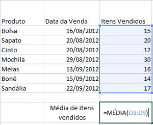 Média dos itens vendidos de D3 até D9.