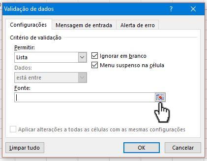 Selecione o ícone no fim da caixa da opção Fonte