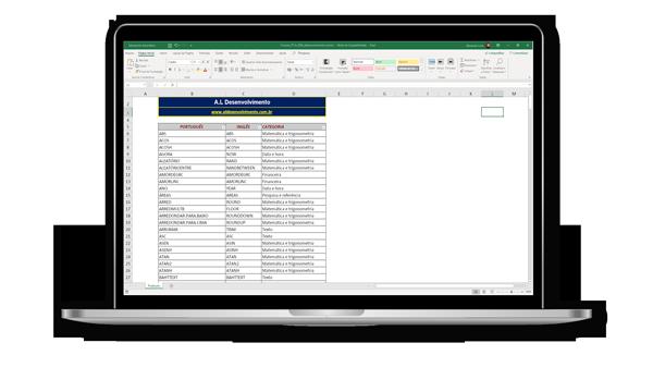 Laptop com a planilha de funções do excel traduzidas do inglês para o português aberta
